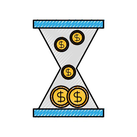 Reloj de cristal de negocios con dinero dólar monedas ilustración de vector de tiempo Foto de archivo - 88433568