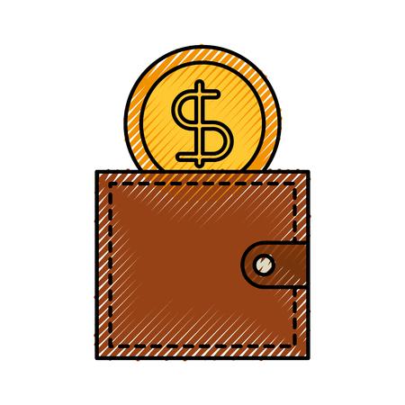 비즈니스 지갑과 돈을 달러 통화 벡터 일러스트 레이션