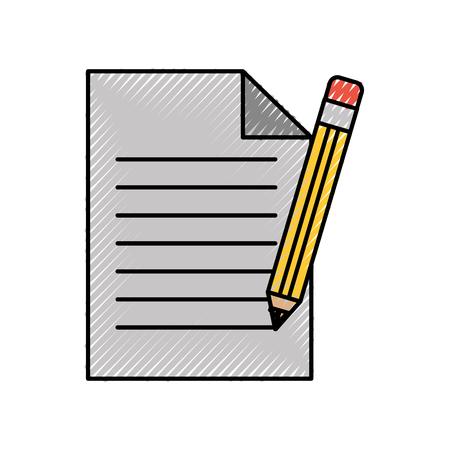 オフィスの紙と鉛筆を供給ひな形要素ベクトル図