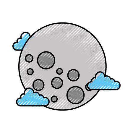 full moon in outer space with lunar craters on white background vector illustration Illustration