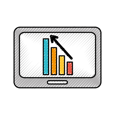 business tablet with financial chart economy data vector illustration