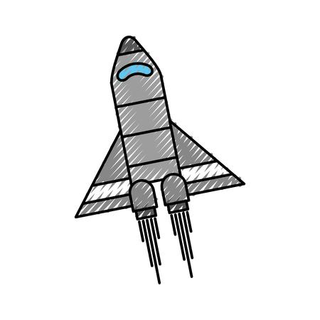 スペース ロケットと探査シンボル ベクトル図を起動  イラスト・ベクター素材