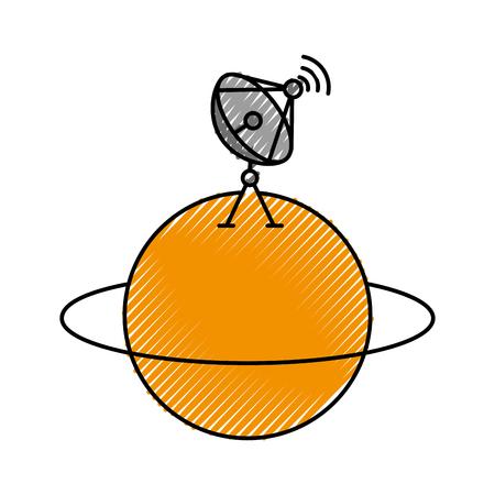 Saturnus planeet met satellietschotel trasnmissie signaal vectorillustratie