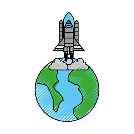 universe planet earth rocket launch space vector illustration