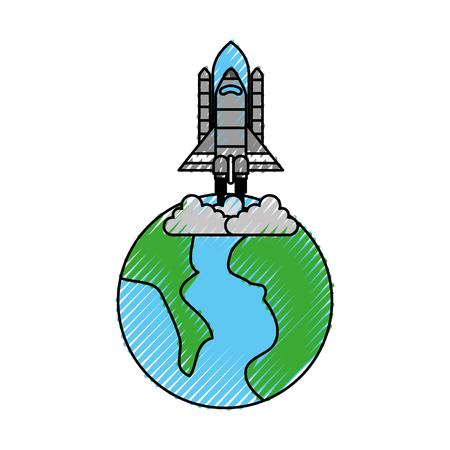 Universo planeta tierra cohete lanzamiento espacio ilustración vectorial Foto de archivo - 88434168
