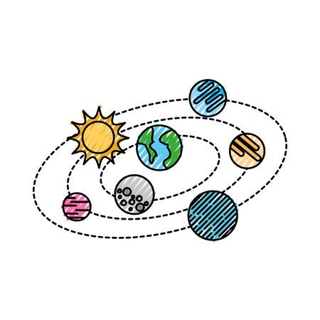 태양계 행성 및 태양 궤도 과학 천문학 공간 벡터 일러스트와 함께
