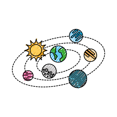 solar system with planets and sun orbit science astronomy space vector illustration 向量圖像