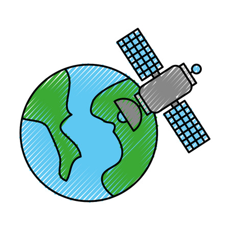 universe planet earth satellite science communication space vector illustration Çizim