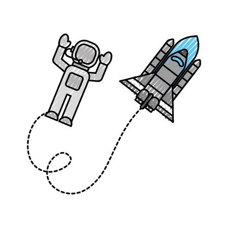 우주 비행사와 우주 비행사 여행 모험 탐사 벡터 일러스트 레이션