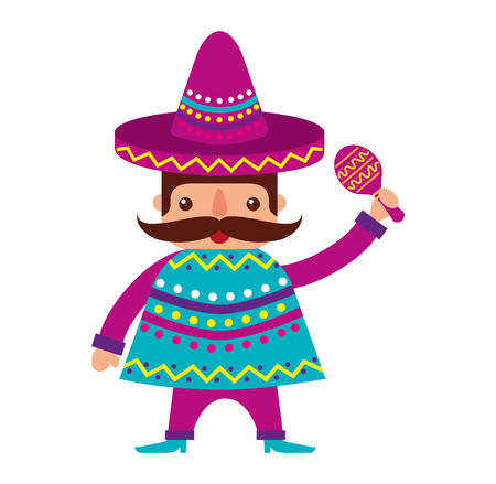 mexican man with maracas and traditional costume vector illustration