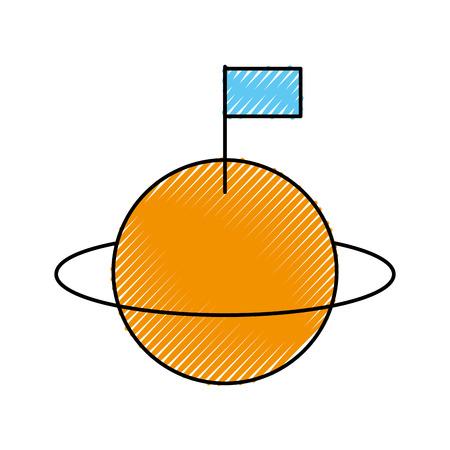 フラッグ植民地化ベクトルイラストを持つ宇宙宇宙土星