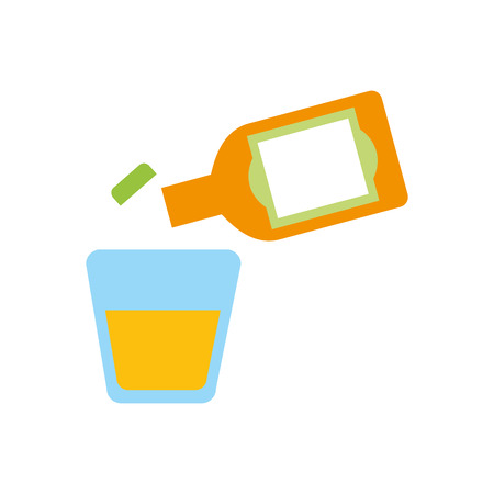 glass and botlle of tequila alcoholic cocktail vector illustration