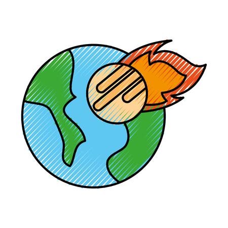 宇宙惑星地球隕石落下空間ベクトル図