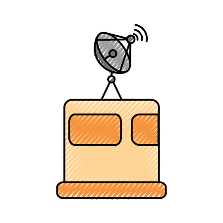위성 방송 접시 장비 발견 벡터 일러스트 레이션
