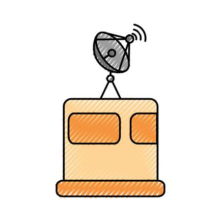 satellite broadcasting dish equipment discovery vector illustration