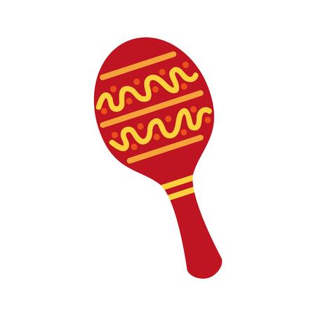maraca mexican music instrument celebration carnival vector illustration