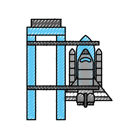 rocket standing on the platform ready to launch in space vector illustration Stock fotó - 88432405