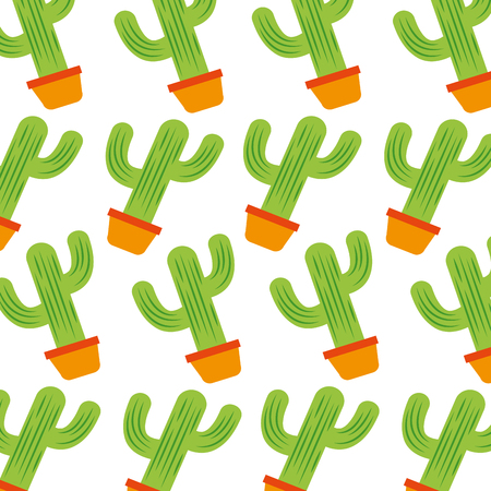 mexican potted cactus natural plant decoration seamless pattern vector illustration