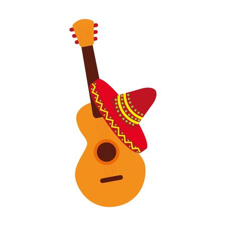 メキシコのギターと帽子の伝統的な楽器の音楽ベクトルイラスト