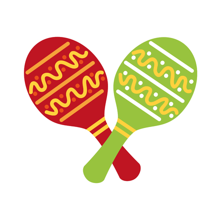 maracas mexican music instrument celebration carnival vector illustration