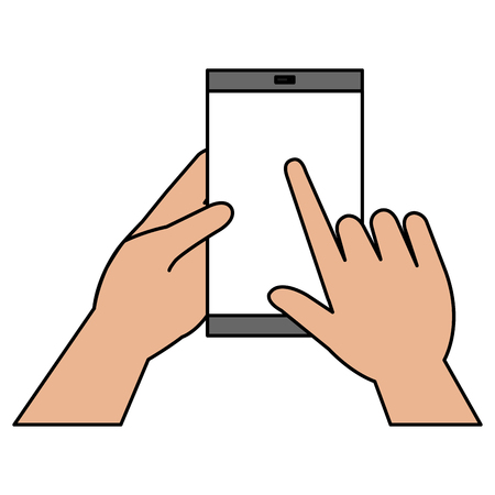hands human with smartphone device isolated icon vector illustration design