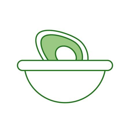mexican food bowl avocado fresh traditional vector illustration