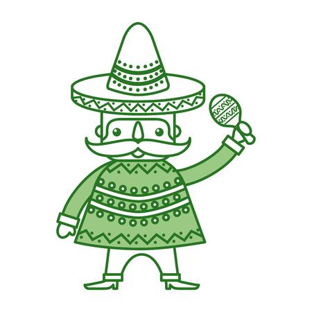、マラカスと伝統的な衣装のベクトルイラストとメキシコ人  イラスト・ベクター素材