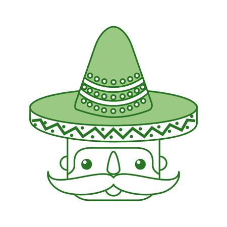 Mexicaans man gezicht met hoed en snor portret vectorillustratie Stockfoto - 88431373