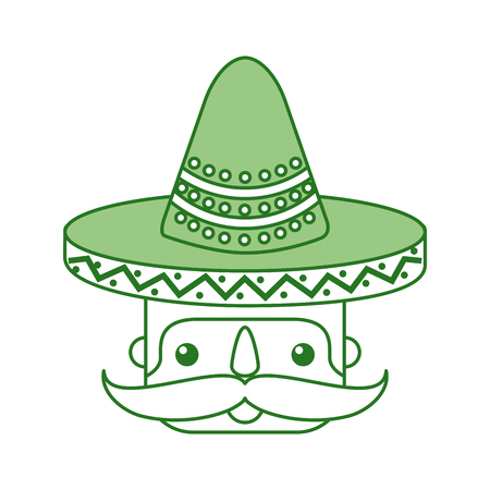 mexican man face with hat and mustache portrait vector illustration