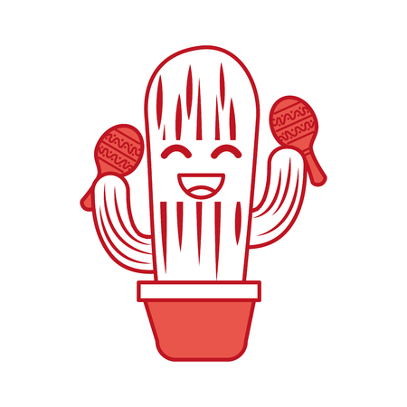 cartoon happy potted cactus with maracas celebration mexican vector illustration Çizim