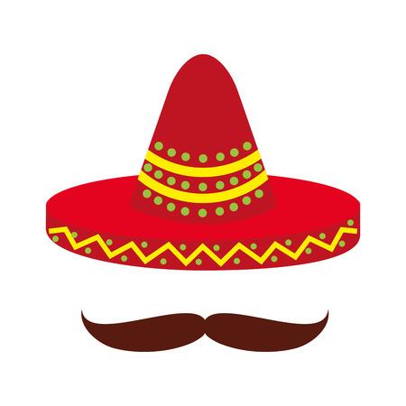 メキシカン ハットと口ひげ文化シンボル ベクトル イラスト