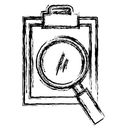 clipboard paper with magnifying glass vector illustration design