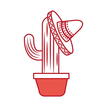 Ingemaakte cactus en Mexicaanse hoed decoratie vectorillustratie Stockfoto - 88431586