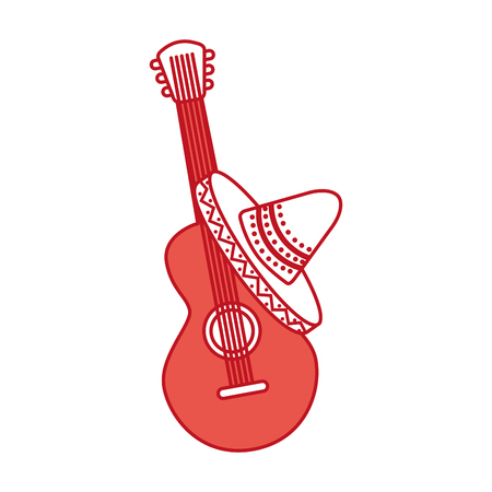 mexican guitar and hat traditional instrument musical vector illustration