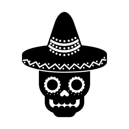 Schädel im Hut Tag der toten mexikanischen Feier Vektor-Illustration Standard-Bild - 88431707
