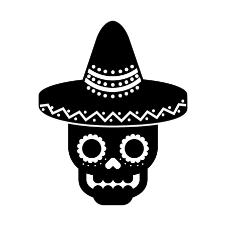 skull in hat day of the dead mexican celebration vector illustration Illustration