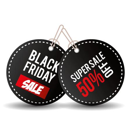 zwarte vrijdag promotie label vector illustratie ontwerp Vector Illustratie