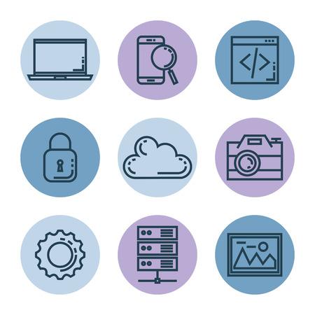 search engine optimization set icons vector illustration design