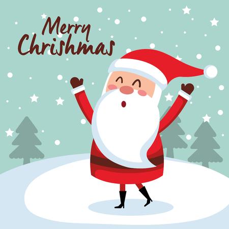 メリー クリスマス サンタ文字ベクトル イラスト デザイン