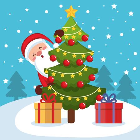 merry christmas santa character vector illustration design Illustration