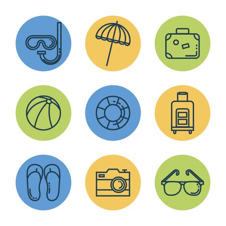 summer vacations set icons vector illustration design