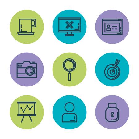 negocios y gestión conjunto de iconos vector ilustración diseño