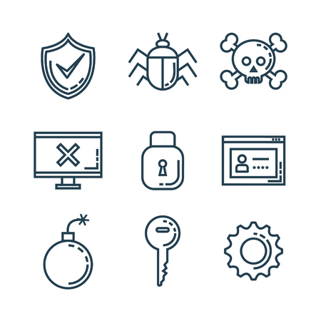 Informatic security set icons vector illustration design