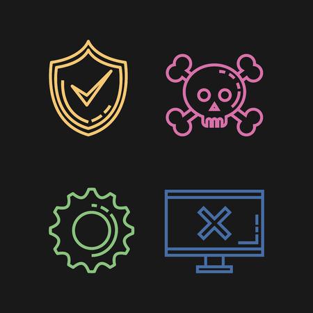 Diseño de ilustración de vector de iconos informáticos de seguridad informática Foto de archivo - 88435588