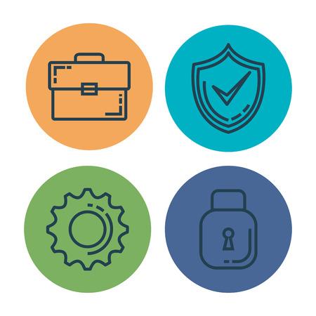 Informatic vector de illustratieontwerp van veiligheids vastgesteld pictogrammen Stock Illustratie