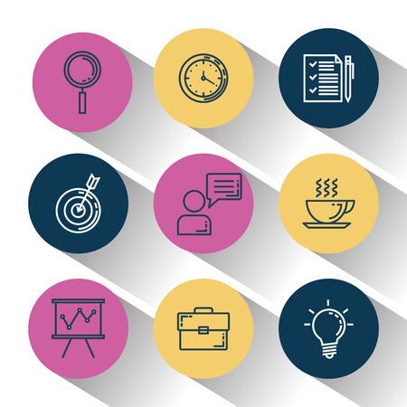 business and management set icons vector illustration design