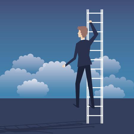 business plan growth with businessman avatar vector illustration design