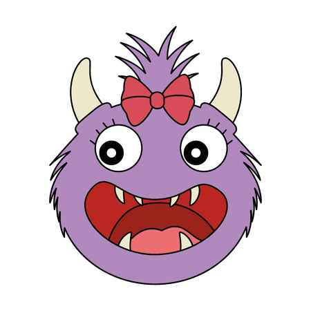 female furry monster character vector illustration design Ilustração