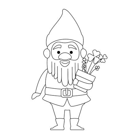 Netter Gnom mit Kleeblattanlagencharaktervektor-Illustrationsdesign Standard-Bild - 88437264