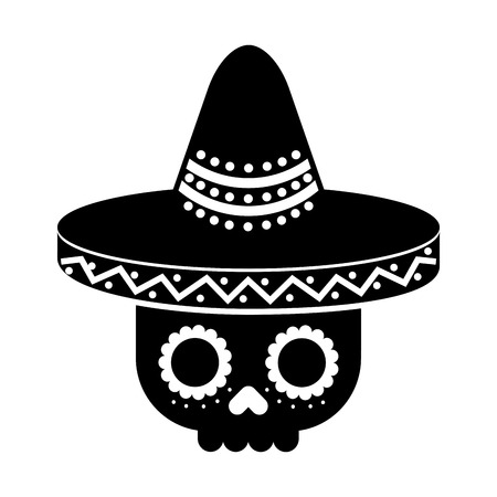 skull in hat day of the dead mexican celebration vector illustration 向量圖像
